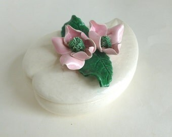 California Pottery Covered Trinket Box with Pink and Green Handmade Ceramic Roses Heart Leaf Shape