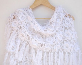 white crochet shawl scarf white wedding wrap shawl crochet women shawl wrap ,bridal scarf Scarves ,spring scarf , fall fashion senoAccessory