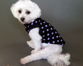 Black Dog Tank Top or T Shirt Knit Dog PJs with Purple Spots