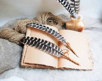 Turkey Feather Quill Dip Pen, Ball Point Pen With Feather. Natural feather pen, original gift idea