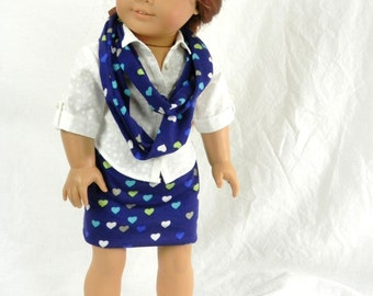 Be My Blue Valentine Doll Outfit: Navy Blue with Hearts Infinity Scarf and Matching Mini Skirt Fits 18 Inch Doll