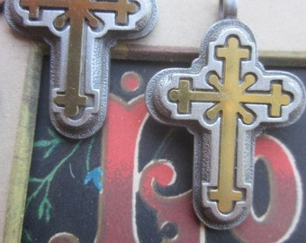 Fancy Silver And Gold  Cross