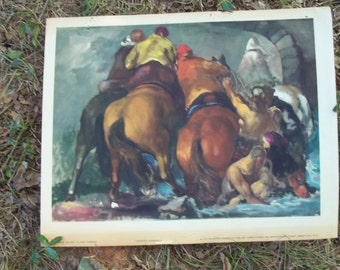 "Art Print 1937 Equine Horses & Men ""Flood Detail"" by Jon Corbino Art Appreciation Issue Wonderful Estate Decor Find"
