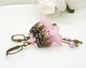 Long light pink lucite flower earrings, handmade pink earrings, lucite flower jewelry