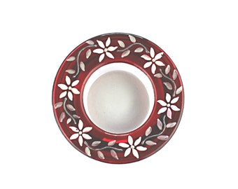 Glass Tea Light Holder in Dark Red,  Hand Painted Glass Decoration, Candle Holder, Glass Candle Light Holder, Ready to Ship