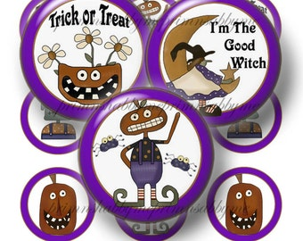 Halloween, Bottle Cap Images, Digital Collage Sheet, 1 Inch Circles, Printable Instant Download, Grim Prim, Halloween Images