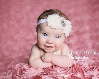 30% off entire order...Baby headband White chiffon and lace flower headband, newborn headband, baby girl