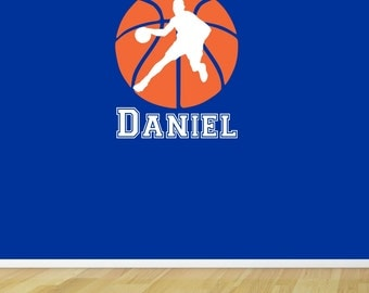 "Basketball Wall Decal with Personalized Name - 28"" Tall x 23"" Long"