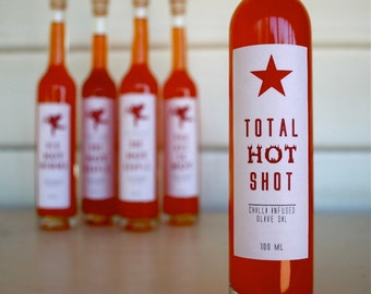 "Coworker Gift ""Total Hot Shot"" Chilli Infused Australian Olive Oil, Boss Gift Idea, Foodie Gift, Healthy Gift, Coach Gift, Novelty Gift"
