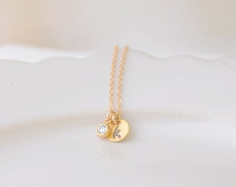 Initial Necklace with Sparkle - Stamped initial with crystal - 1269