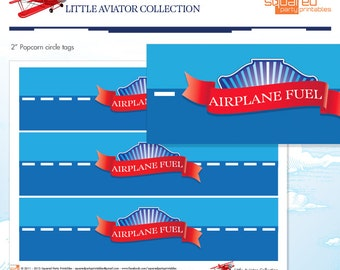 LIttle Aviator Printable Birthday Bottle Labels - Red and Blue - DIY Print - Airplane Party - Instant Download