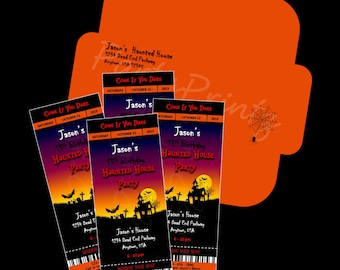 Printable - Haunted Halloween - Ticket Invitations &  Envelope - Custom Personalized Birthday