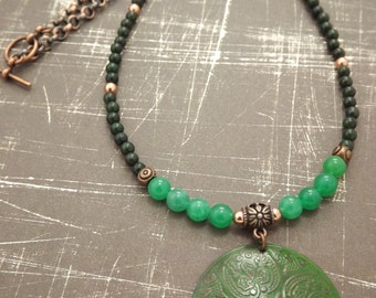Jade And Copper Beaded Necklace