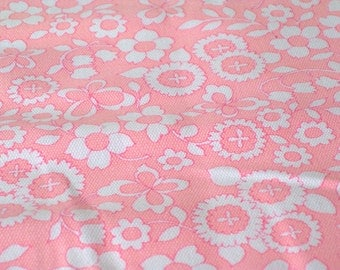 "Vintage Fabric - Pink & White Flowers - 58""L x 36""W - 1960's - Floral Fabric - Retro - Sewing Material - Craft Supply - Yardage"