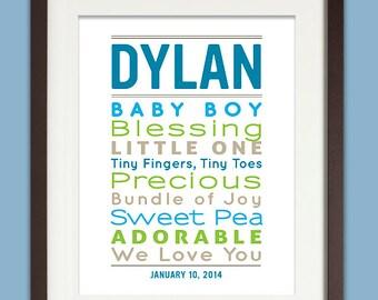 Personalized New Baby Boy Gift, 8x10 Nursery Baby Word Art, Newborn Boy Gift, Typographic Nursery Art