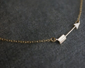 Tiny Arrow Necklace - 16k Matt Gold Arrow Necklace with 14k Gold filled chain - Gold Arrow Charm Necklace - Minimalist Necklace