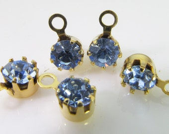 20 Vintage Swarovski Light Sapphire 17ss 4mm Crystal Gold-Plated Drops Charms Cr59