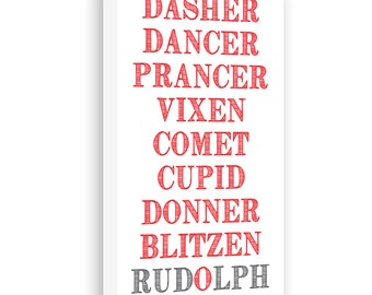 Reindeer Names Gallery Wrapped Canvas - Christmas Decor - Holiday Wall ...