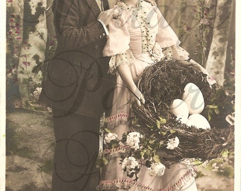 Antique French Photo Postcard Edwardian Couple with Big Easter Eggs in Nest RPPC from Vintage Paper Attic