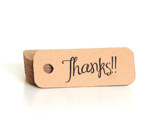 Thank You Hang Tags - Thank You Tags - Mini Thank You Tags - Thank You Kraft Tags - Thank You Gift Tags - Favor Tags