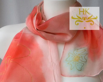 Christmas Silk Gift.Pink Floral Scarf.Pink Scarf.Pink Mint Gold Silk Scarf.Pink Hand painted Silk Floral Scarf.Pink Silk Shawl.Pink Scarf.