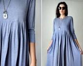 50% COUPON INSIDE 70s Vintage Boho Chic Gypsy Dress Summer Babydoll Maxidress Hipster Lilac Long Sleeve Jersey Dress Oversized Maxi Dress