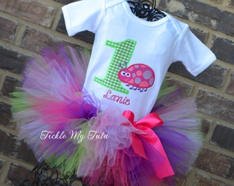 Ladybug Birthday Outfit-Pink and Purple Ladybug Birthday Tutu Outfit-Ladybug Birthday Party-Ladybug Tutu Set-First Birthday Ladybug Outfit
