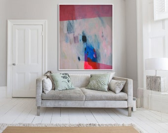 "Large abstract print, red and blue giclée print of painting,  ""The Red Stiletto Girl"""