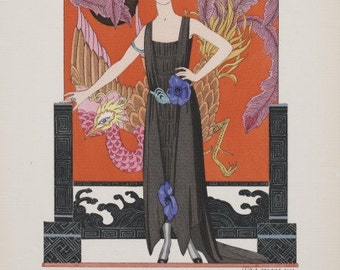 ART DECO Woman Print with Feathers Hair and White Peacock by