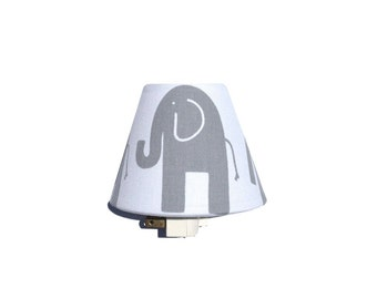 Elephant Night Light / Baby Girl Boy Nursery Decor / Gray and White Unisex Gender Neutral / Premier Prints Twill Storm Grey