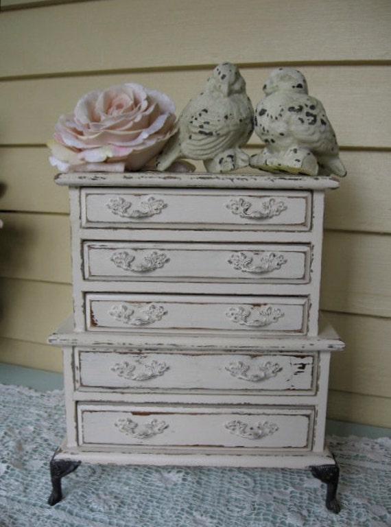 Shabby Chic Jewelry Box Vintage jewelry armoire Musical