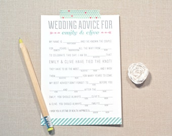 Wedding Madlibs, Wedding Advice, Marriage advice, for Bridal Shower, game
