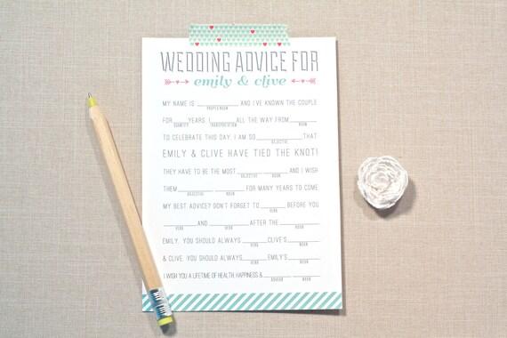 Wedding Madlibs, Wedding Advice, Marriage advice, for Bridal Shower, game