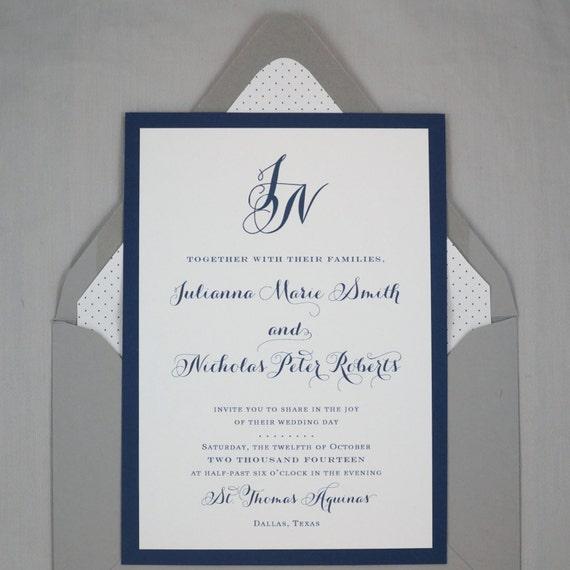 Items Similar To Monogram Wedding Invitation