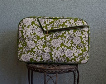 1960s green with white FLOWERS over night SUIT CASE