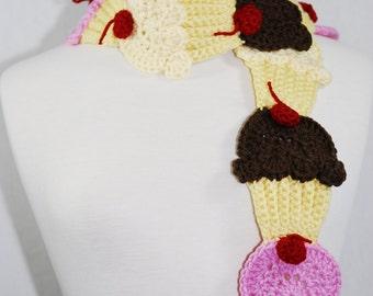 Neapolitan Cupcake Scarf-Women accessories-Neck Warmer-Kawaii-Crochet scarf-Crochet Cupcakes