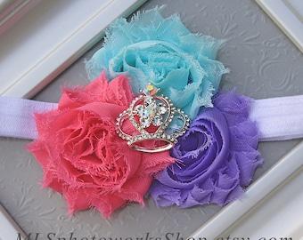 Birthday Princess Headband with Sparkling Crown in Pink, Mint-Aqua and Lavender - Baby Girl Princess Tiara Headband