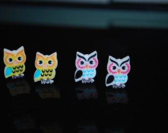 Owl Earrings -- Owl Studs, Hoot Hoot, You Choose the Color!