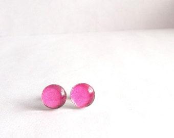 Bright Pink Earrings, Hot Pink Stud Earrings, Small Post Earrings, Dainty Stud Earrings, Round Studs, Simple Stud Earrings, Sensitive Ears
