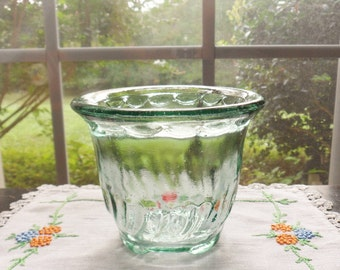 Green Glass Planter, Clear Green Molded Glass