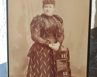 Antique Sepia Picture of Victorian Lady, Cabinet Card Photo, Victorian Woman Cabinet Picture