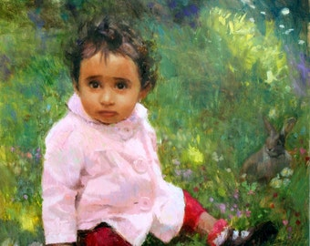 Custom Portrait Oil Painting, baby gift, one Child, 18 x 24 inches, whole body, impressionist background