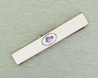 Vintage comb in case with guilloche enamel plaque by Bliss, c.1950's purse accessory