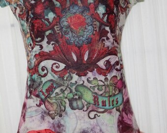 Upcycled Bohemian JUNK Gypsy Tattered T shirt small