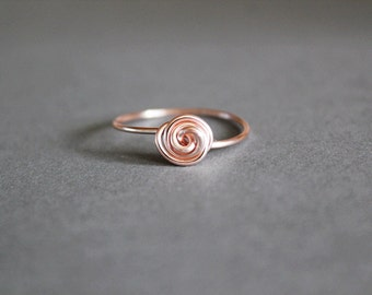 wire ring, rosebud ring, dainty cute jewelry, wire jewelry, bridesmaids ring, wedding jewelry // rose gold, gold, or silver