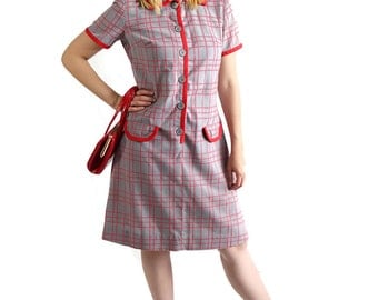 60s Shirt Dress / Scooter / Plaid / Check / Red / Patty