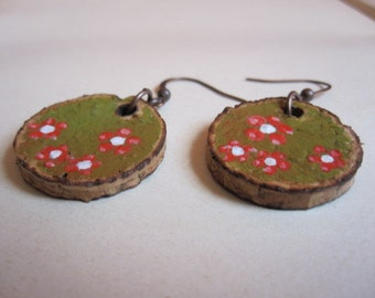 Recycled champagne cork earrings hand painted green with little red flowers
