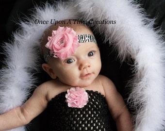 Pink Zebra Shabby Flower Headband - First Birthday Photo Prop - Newborn Infant Baby Child Girls Bow Accessory - Zebra Hair Accessories
