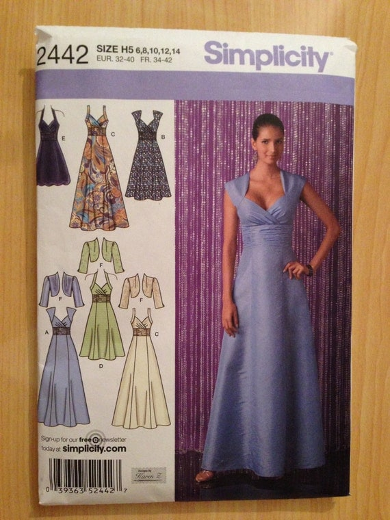 Simplicity Sewing Pattern 2442 Misses Dress with Variations and Bolero