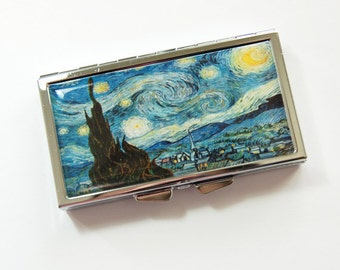 7 day, 7 section, Pill Case, Starry Night, Pill box, Pill Container, Vincent van Gogh, Van Gogh case, Art Pill Case, Kellys Magnets (3897)
